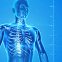 Human body scan on blue background