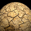 Seen from space a planet suffering from drought, dry and cracking, with no life