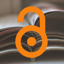 pile of journals and orange open padlock open access logo