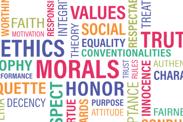 Word cloud relating to morality