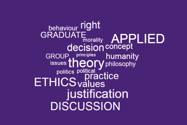 applied ethics wordcloud, white text on a purple background.