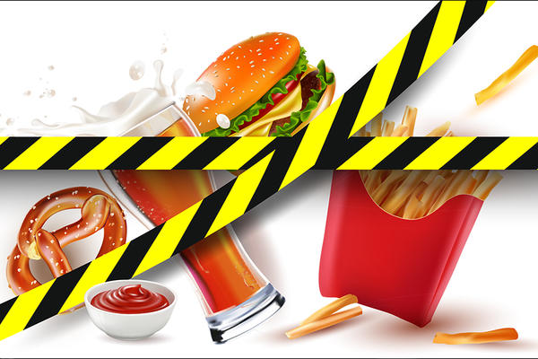 junk food with hazard tape
