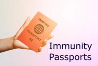 hand holding a passport with words immune passport